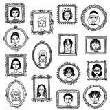 Cornici disegnate a mano sveglie con le donne Fotografie Stock