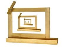 Cornici legnose delle picture in picture quattro o bordo o no. dell'appunto Immagine Stock