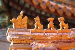 Cornicione delle mattonelle di costruzione storica cinese Immagine Stock Libera da Diritti