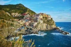 Corniglia,五乡地,利古里亚,意大利风景看法  库存图片