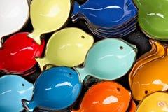 Corniglia, Cinque Terre. Handmade ceramic decorations representing colored sea stars royalty free stock photo