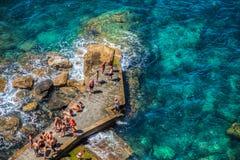 Corniglia, Cinque Terre, Italy - People royalty free stock photo