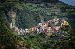 Corniglia, Italy. Corniglia is one of the beautiful towns of the Cinque Terre, a land where seafood rules and grapevines climb the hills of coastal Italy stock image