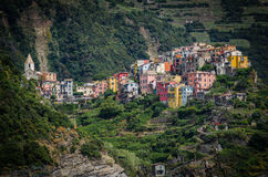 Corniglia, Italy. Corniglia is one of the beautiful towns of the Cinque Terre, a land where seafood rules and grapevines climb the hills of coastal Italy royalty free stock photos