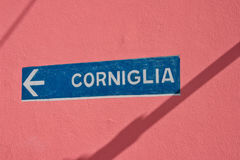 Corniglia. A sign showing the way the the village of Corniglia in the Cinque Terre national park Stock Images
