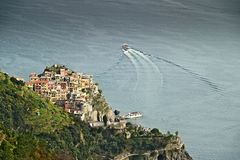 Corniglia to the Cinque Terre. Seascape at sunset time royalty free stock images