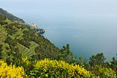 Corniglia to the Cinque Terre. Seascape at sunset time royalty free stock photos