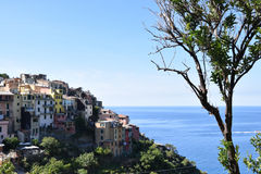 Corniglia town on hill in Italian Riviera Stock Photo