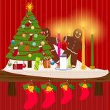 Cornija de lareira do Natal Fotos de Stock Royalty Free