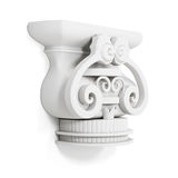 Cornija decorativa isolada no fundo branco 3d rendem os cilindros de image Foto de Stock