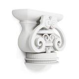 Cornisa decorativa aislada en el fondo blanco 3d rinden los cilindros de image Foto de archivo