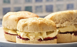 Cornisb clotted cream & jam scones Stock Photos