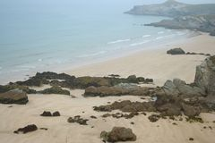 Cornish Beach. View from a beach in Porth, Cornwall Royalty Free Stock Photography