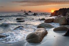 Cornish Beach Sunset Stock Image