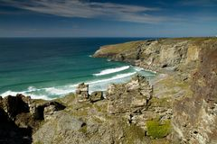 Cornish cliffs near Tintagel in Cornwall Royalty Free Stock Image