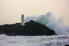 Cornish coast gets battered by storms. Winter storms and high tides batter the north Cornish coast line Stock Images