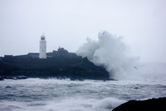 Cornish coast gets battered by storms. Winter storms and high tides batter the north Cornish coast line Royalty Free Stock Photography
