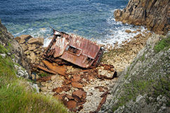 Cornish Coast Lands End wreck Royalty Free Stock Photo