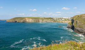 Cornish coast Mawgan Porth north Cornwall England near Newquay summer day with blue sky Stock Photography