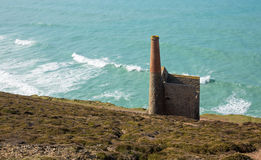 Cornish coast and tin mine Cornwall England UK Stock Image
