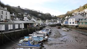 Cornish coast village of Polperro Cornwall England UK out of season in winter smooth professional video pan stock footage