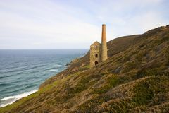 Cornish coastal mine. Towanroath pumping engine house at Wheal Coates St. Agnes Cornwall.The area is now a World heritage site Royalty Free Stock Photo
