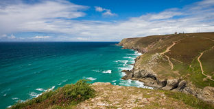 Cornish coastline. View from the cliffs at st agnes in cornwall Stock Photos