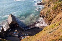 Cornish coastline. The Lizard life boat house in Cornwall royalty free stock photos