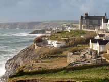 Cornish Coastline Porthleven. Atlantic waves batter the south west coast of Cornwall on a January afternoon in Porthleven Stock Images