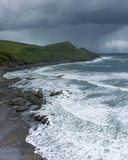 Cornish coastline and storm. Cornish coastline with rough seas and stormy skies stock photos