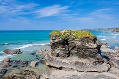 Cornish Coastline at Trevelgue Head Stock Photos