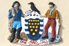 Cornish coat of arms. Cornwall County Council Arms at Land's End Stock Photos
