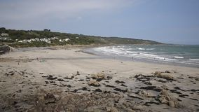 Cornish cove Coverack Cornwall England UK coastal fishing village on the Lizard Heritage coast stock video
