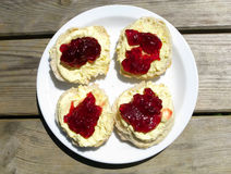 Cornish cream tea. Strawberry jam and clotted cream scones on a park picnic bench Royalty Free Stock Photos