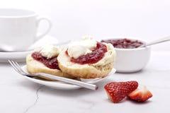 Cornish Cream Tea. Jam on the bottom Cream on top Royalty Free Stock Images