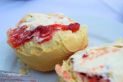 Cornish Cream Tea. Traditional Cornish Cream Tea: scone, jam, clotted cream Royalty Free Stock Images