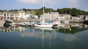 Cornish harbour and boats Padstow North Cornwall England UK beautiful late summer sun stock video footage