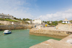 Cornish harbour of Charlestown near St Austell Cornwall England UK in summer. Charlestown harbour near St Austell Cornwall England UK in summer with blue sky and Stock Photo