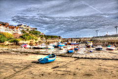 Cornish harbour Newquay North Cornwall England UK like a painting in HDR Royalty Free Stock Photos