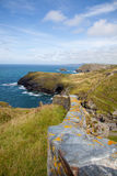 Cornish Headland. Photograph of a Cornish headland from Tintagel Castle Stock Image