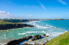 Cornish Heaven. A bright, beautiful view of Newquay, Cornwall Royalty Free Stock Images