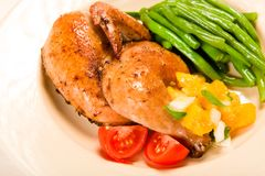 Cornish Hen Meal Stock Image