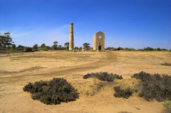 Cornish Hughes Copper Mine. The Hughes engine house at Moonta Mines, Sosuth Australia. The surrounding area is still devoid of vegetation due to the destructive stock images