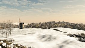 Cornish Mine Engine House in Snow. Derelict Cornish tin or copper mine engine house in a snowy winter landscape, 3d digitally rendered illustration Stock Photo