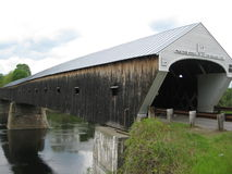 Cornish NH to Windsor VT Covered bridge. Covered bridge built in 1866 at a cost of $9,000. is the longest wooden bridge in US and longest two span in the world Stock Photo