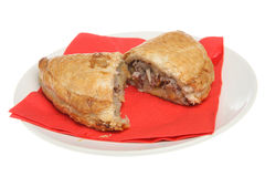 Cornish Pastie. Traditional Cornish pastie made with beef and potatoes Royalty Free Stock Photography