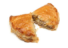 Cornish Pastie or Pastie. Freshly baked Cornish pastie on white Royalty Free Stock Images