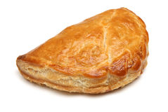 Cornish Pastie or Pasty. Freshly baked Cornish pastie on white background Stock Images