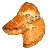 Cornish Pasties. Two traditional Cornish pasties, isolated on a white background Stock Images