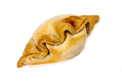 Cornish pasty. A delusions homemade Cornish pasty on a white background Stock Image